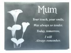 Slate Memorial Plaque (Flowers)