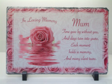 Pink Rose Remembrance Slate