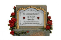 Grave Plaque with Coloured  Roses and a Sensor Light