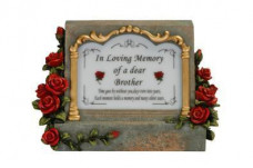 Grave Plaque Red with Sensor Light