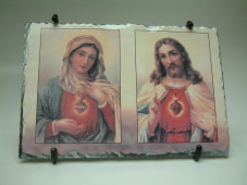 Blessed Mary and Sacred Heart Slate Plaque