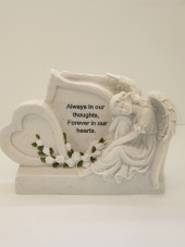 6161 - Angel Grave Plaque with hearts and white roses
